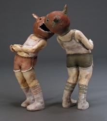 "The Biters, 2006, terracotta, 24"" x 20"" x 12"""