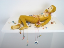 "Pretty, 2009, terracotta, porcelain, paint, nylon flock, ribbon, chain, cord, 10"" x 22"" x 15"" Magda Gluszek and Lindsay Oesterritter"