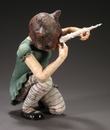 "Dressing Up, 2006, terracotta/porcelain, 20"" x 10"" x 21"""