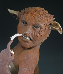 "Looking Sharp, 2007, terracotta/porcelain, 26"" x 20"" x 15"""