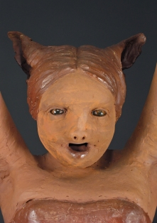 "Swinger, 2007, terracotta/mixed media, 29"" x 33"" x 15"""