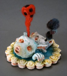 "Did You Do This? 2012, porcelain, glaze, resin, felt, wire, 4"" x 4"" x 4"""