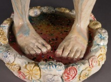 "Party's Over, 2012, stoneware, glaze, flock, resin, candy, 23"" x 7"" x 7"""
