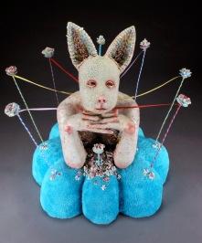 "Keeping It Together, 2012, stoneware, glaze, fabric, wire, ribbon, 15"" x 15"" x 15"""