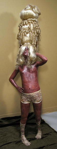 "Blind Beauty, 2008, terracotta, porcelain, lace, wax, synthetic hair, batting, faux fur, metal, 65"" x 20"" x 20"""