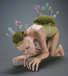 "Under Cover, 2008, terracotta, porcelain, paint, fabric, floral foam, wire, glass eyes, 19"" x 22"" x 10"""