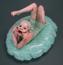 "Sweet Teeth, 2008, terracotta, vinyl, lace, nylon flock, oil paint, lacquer, 13"" x 16"" x 19"""