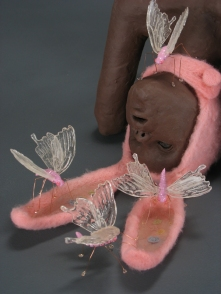 "Feeding, 2008, terracotta, felted wool, wire, polymer clay, resin, 9"" x 21"" x 10"""