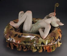 "Small Pond, 2012, stoneware, glaze, resin, fabric, ribbon, glitter, 13"" x 19"" x 15"""