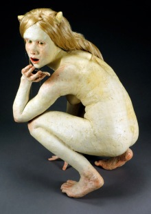 "Oh, Honey..., 2013, stoneware, underglaze, underglaze pencil, resin, faux hair, paint, felt, 27"" x 20"" x 15"""