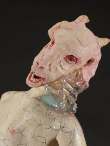 "Filling the Void, 2014, stoneware, underglaze, pencil, wax, resin, paint, 17"" x 6"" x 4"""