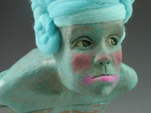 "Guilty, 2010, terracotta, felted wool, paint, sand, 24"" x 12"" x 14"""