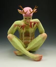 "Always Look Like You're Doing Something Important, 2010, terracotta, terra sigillata, glaze, resin, paint, flock, 14"" x 12"" x 12"""