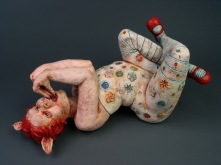 "Self Discipline, 2010, terracotta, porcelain, glaze, oil paint, resin, candy, 14"" x 28"" x 12"""