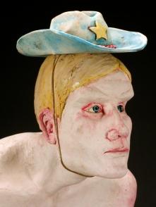"Equestrian, 2014, stoneware, underglaze, glaze, steel, dirt, elastic cord, 26"" x 18"" x 14"""