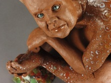 "Picky, 2011, terracotta, glaze, paint, resin, 11"" x 11"" x 8"""