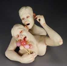 "I'm so in to you (I mean me), 2015, stoneware, resin, wood, underglaze, 9"" x 11"" x 9"""