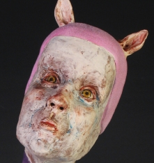 "Lickable, 2011, terracotta, glaze, resin, nylon flock, paint, vinyl, 17"" x 13"" x 13"""