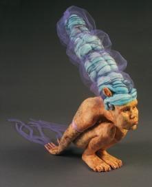 "Innocuous, 2011, terracotta, glaze, felted wool, tulle, paint, 22"" x 10"" x 11"""