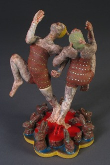 "Being Bunnies, 2011, terracotta, glaze, resin, sand, 10"" x 6"" x 6"""