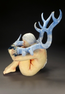 "Breathe, 2018 solid-built and hollowed stoneware, underglaze, glaze, plastic, wool, paint, 22"" x 16"" x 19"""