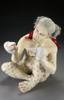 """Jouska, 2018, stoneware, porcelain, underglaze, glaze, wool, paint, thread 15"""" x 11"""" x 12"""""""